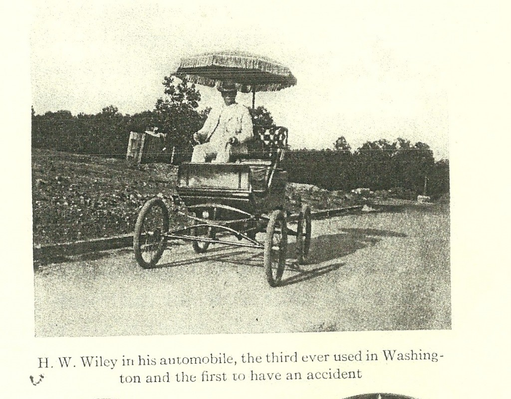 Harvey Wiley in his automobile